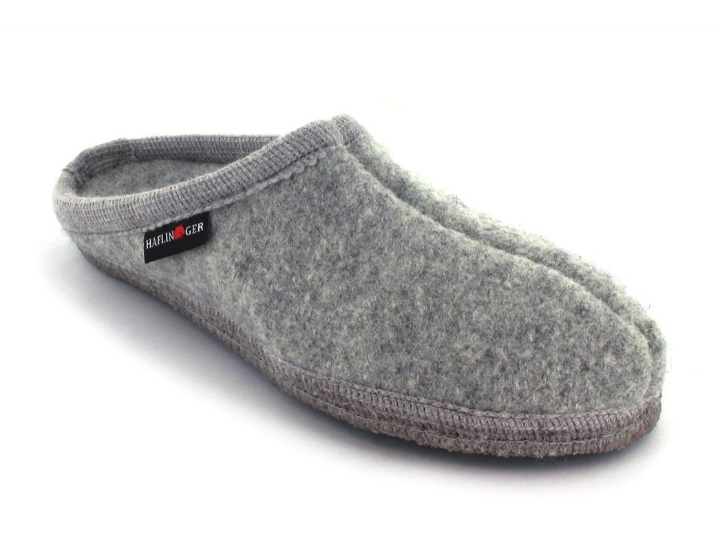 Haflinger Kinder Hausschuhe Alaska Walktoffel Wolle Slipper Graphit grau